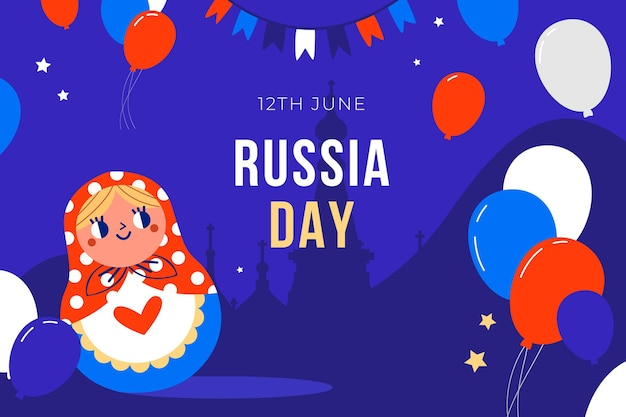 Мультяшный день россии фон с воздушными шарами