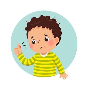 Cartoon sad boy looking at his swollen thumb