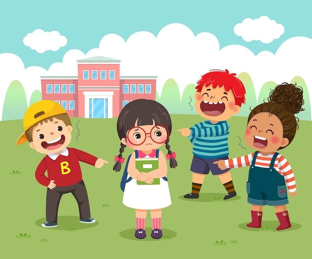 Cartoon of a sad little girl being bullied by her schoolmates in schoolyard.