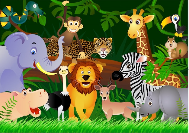 Cartoon safari animals with forest background