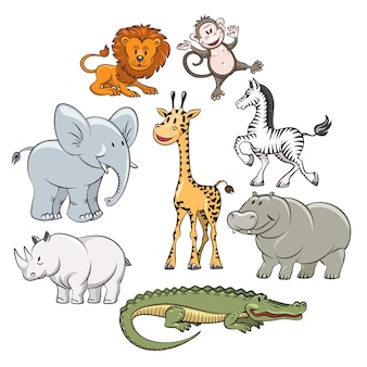 Cartoon safari and jungle animals