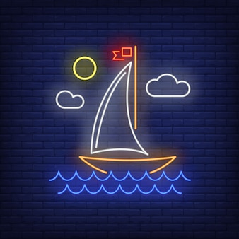 Cartoon sailing ship neon sign. vessel, voyage, adventure.