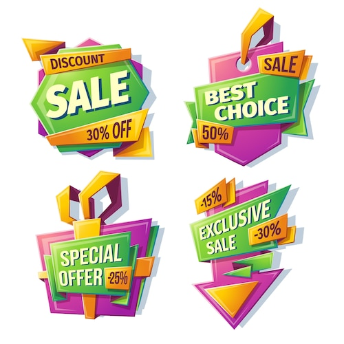 Cartoon sale banners, badges, stickers, tags