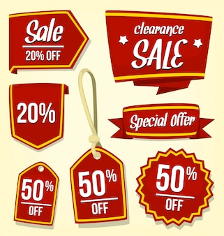 Cartoon sale marketing badge tag template collection set