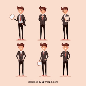 Cartoon salesman in six different positions