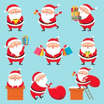 Cartoon santa character set