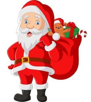 プレゼントの袋を運ぶ漫画サンタクロース
