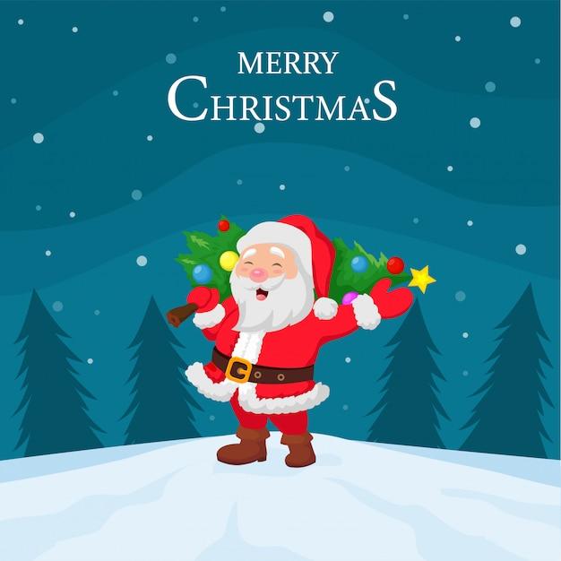 Cartoon santa claus carrying christmas tree