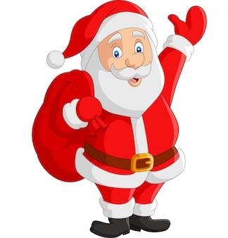 Cartoon santa claus carrying sack