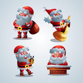 Cartoon santa claus character collection