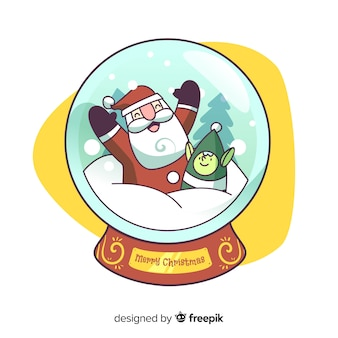 Cartoon santa claus christmas snowball