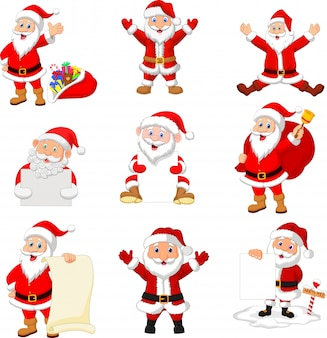 Cartoon santa claus collection set