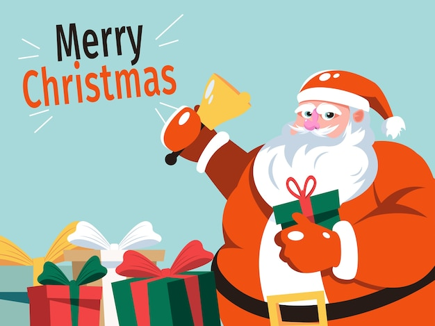 Cartoon of santa claus and decorated with presents