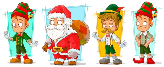 Cartoon santa claus and elf character set