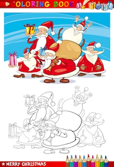 漫画サンタクロースグループのためのぬりえ