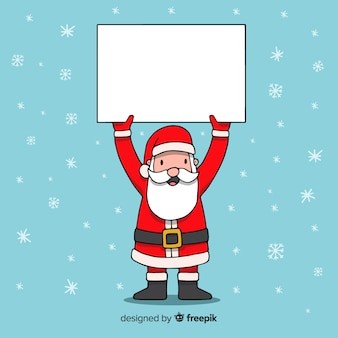 Cartoon santa claus holding blank sign