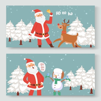 Cartoon santa claus, indeer and snowman for christmas and new year greeting illustration.