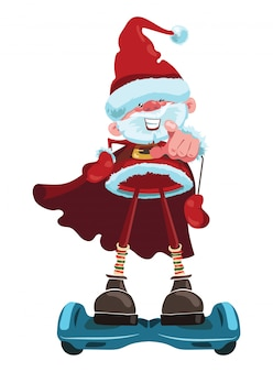 Cartoon santa claus is riding a gyroscooter. christmas illustration with merry grandfather in santa costume.