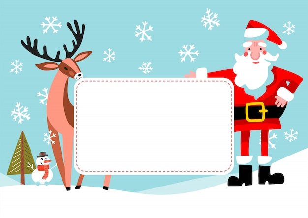 Cartoon santa claus and reindeer with empty banner.  vintage christmas greeting card design