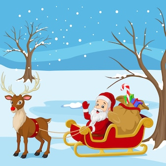 Cartoon santa claus rides in sleigh carrying a sack of gifts with reindeer
