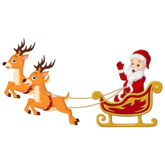 Cartoon santa claus rides in sleigh with reindeer