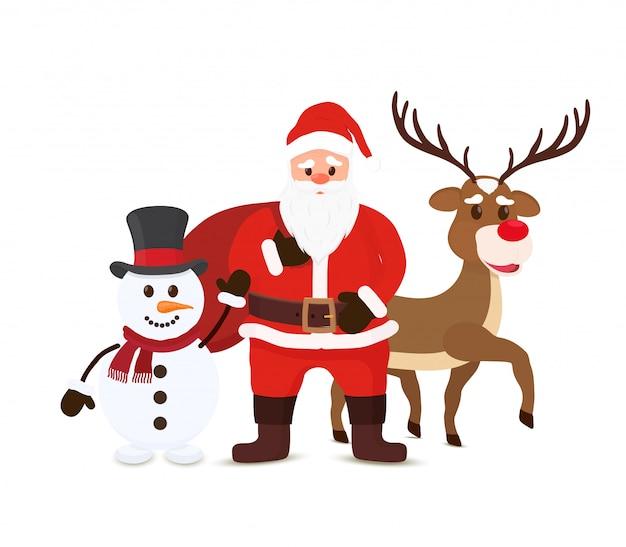 Cartoon santa claus, snowman and reindeers. christmas characters