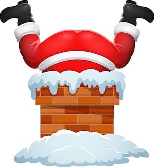 Cartoon santa claus stuck in the chimney