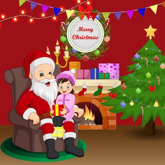Cartoon santa claus with girl sitting on the lap