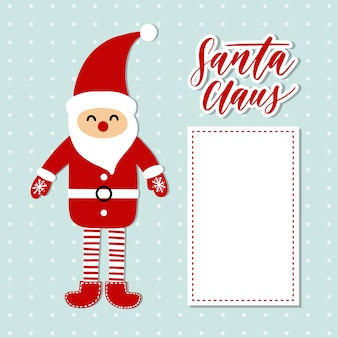 Cartoon santa claus with place for text and hand lettering vector.