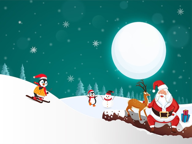 Cartoon santa claus with reindeer