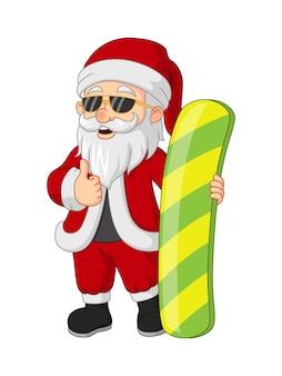 Cartoon santa claus with snowboard giving thumb up