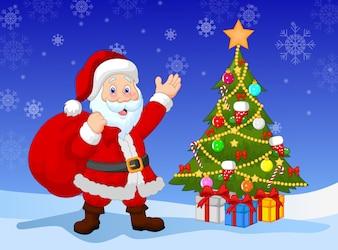 Cartoon Santa clause with Christmas tree