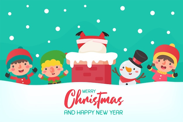 굴뚝에 만화 산타와 지붕에 친구 크리스마스 겨울에 너무 행복해