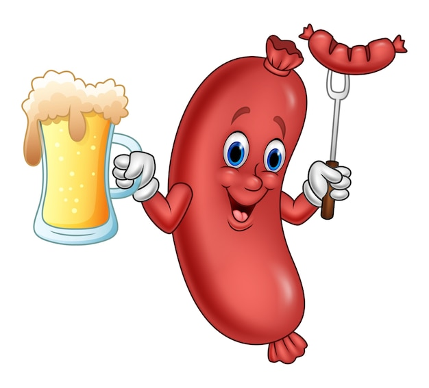 Cartoon sausage holding beer and sausage on fork