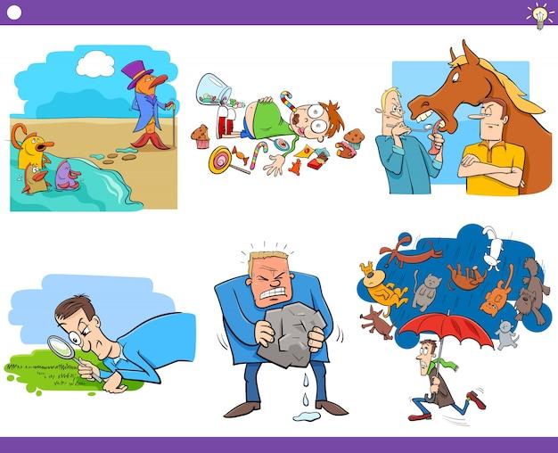 Cartoon sayings or proverbs set