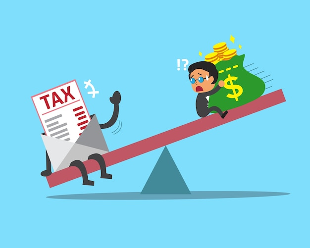 Шкала мультфильма между предпринимателем и налогом