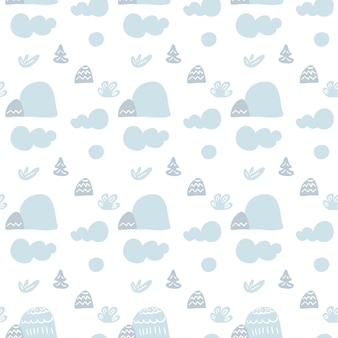 Cartoon scandinavian seamless pattern.  landscape with clouds, mountains and trees