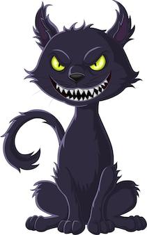 만화 무서운 검은 고양이 흰색 배경에 고립