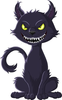 Cartoon scary black cat isolated on white background