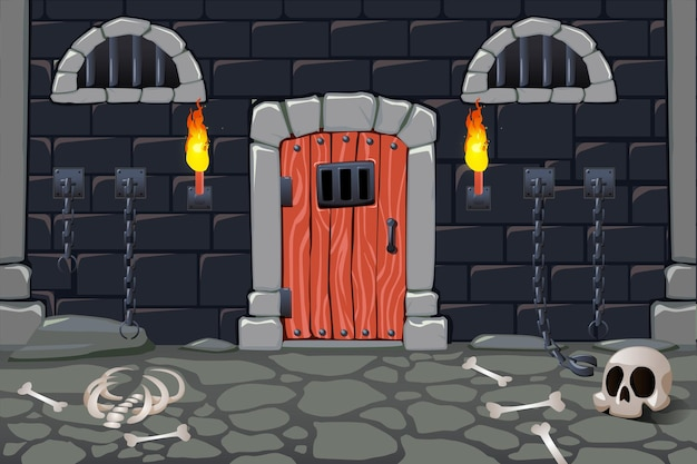 Cartoon scary dungeon with torches and human bones illustration