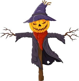 Мультяшное страшное пугало из тыквы на хэллоуин