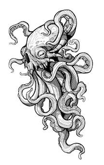 촉수, 사악한 눈, 날카로운 송곳니를 가진 만화 무서운 으스스한 외계인 괴물. 흰색 바탕에 할로윈 벡터 밑그림입니다.