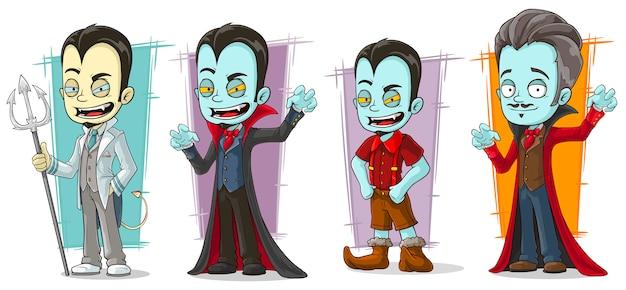 Cartoon scary vampire family characters set