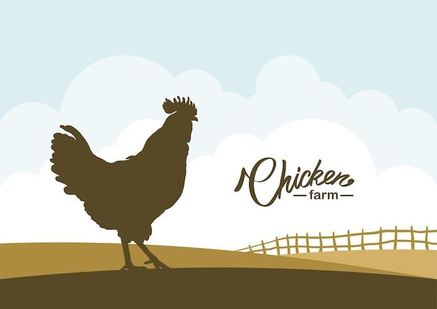 Мультфильм сцена с силуэт петуха на фоне поля фермы.