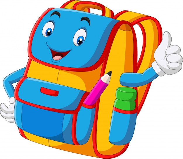 Cartoon school backpack giving thumbs up