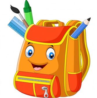 Cartoon school backpack on white