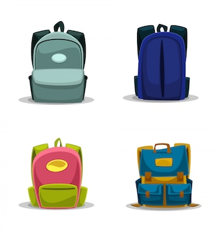 Cartoon school bag isolated template collection set