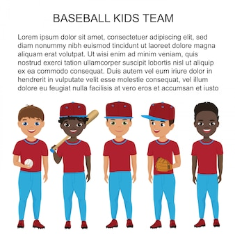 Cartoon school baseball kids team in uniform isolated.