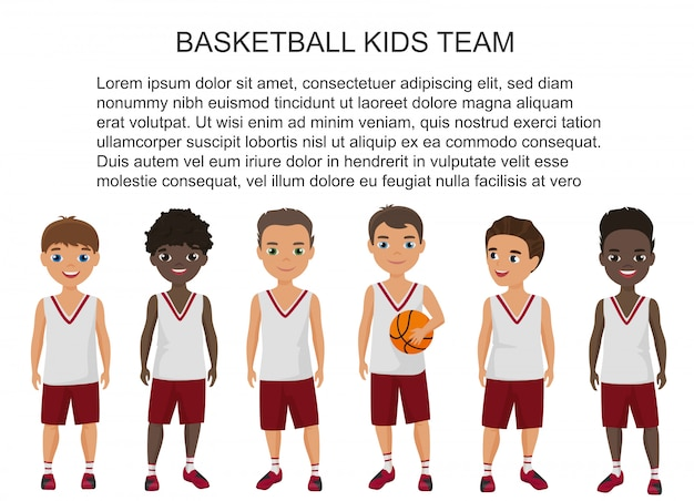 Cartoon school basketball kids team in uniform isolated.