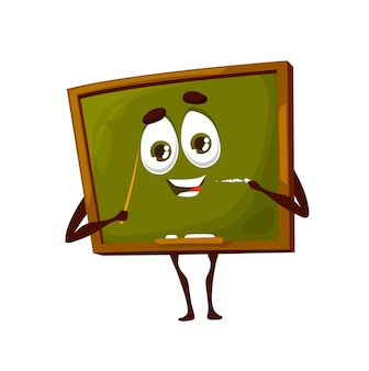 Cartoon school board cute character. school green chalkboard funny mascot with happy smiling face, chalk and teachers pointer, classroom wooden blackboard vector comic character